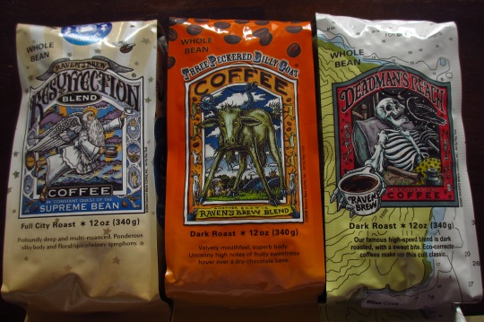 Raven's Brew coffee - Resurrection Blend, Three-peckered Billy Goat and Deadman's Reach